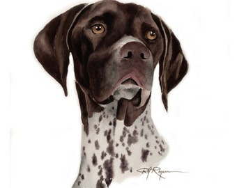 GERMAN SHORT HAIRED Pointer Dog Art Print Signed by Artist D J Rogers