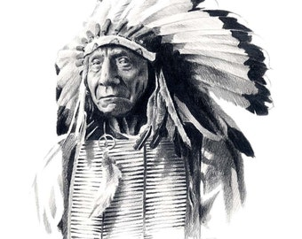 Indian Chief RED CLOUD Art Print Signed by Artist DJ Rogers