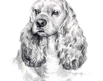 COCKER SPANIEL Dog Art Print Signed by Artist DJ Rogers
