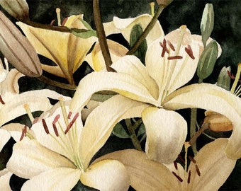 LILLIES Watercolor Painting ART Print Signed By Arist DJ Rogers