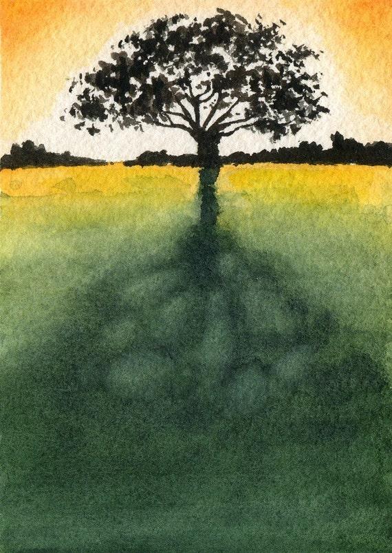 SUNLIT TREE Watercolor Signed Fine Art Print by Artist DJ Rogers