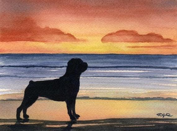 """Rottweiler Art Print """"ROTTWEILER SUNSET"""" Signed by Artist DJ Rogers"""
