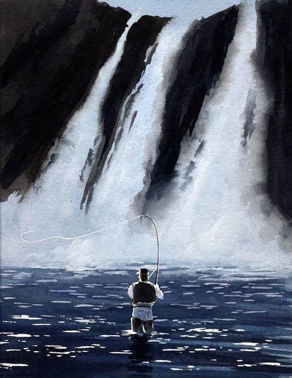 Fly Fishing Art Print DRY FLYING The FALLS Signed by Artist D J Rogers