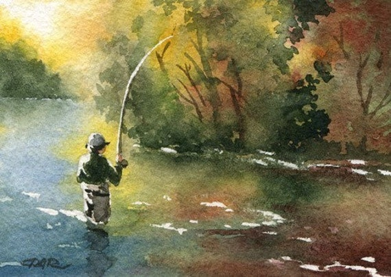 FLY FISHING / Perfect Drift Watercolor Signed Fine Art Print by Artist DJ Rogers