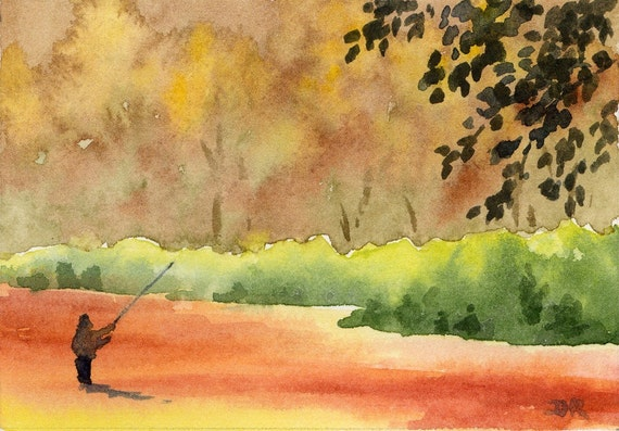 FLY FISHING  Watercolor Signed Fine Art Print by Artist DJ Rogers