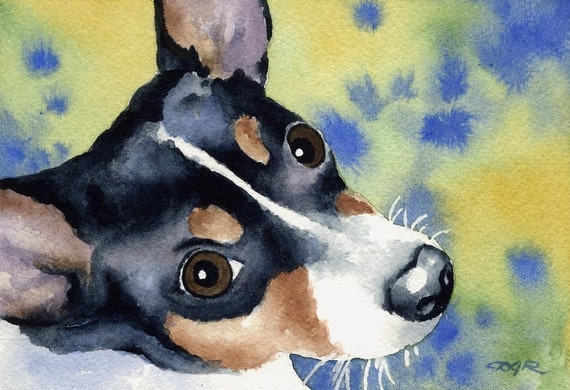 RAT TERRIER Art Print Signed by Artist DJ Rogers