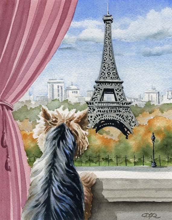 YORKSHIRE TERRIER In Paris Dog Watercolor Art Print Signed by Artist DJ Rogers