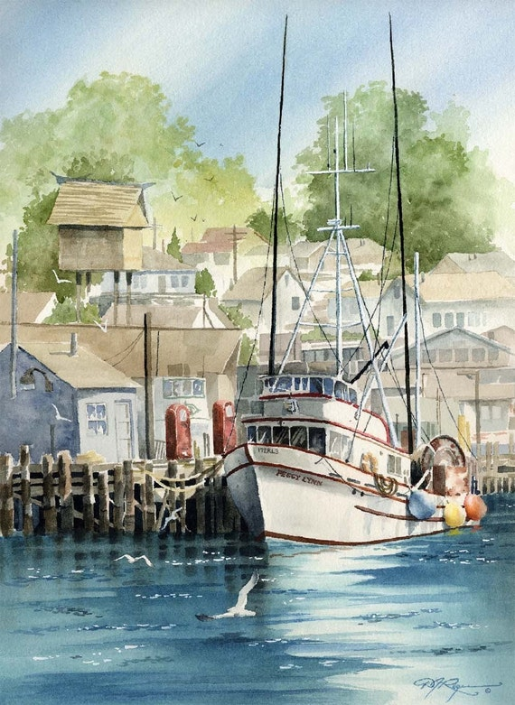 Morro bay fishing boat watercolor painting art print signed by for Fishing boat painting