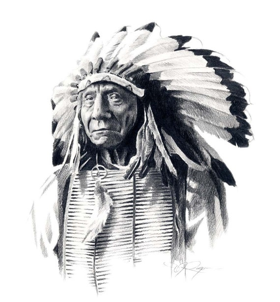 Hd Chiefs Wallpaper: Indian Chief RED CLOUD Art Print Signed By Artist DJ Rogers