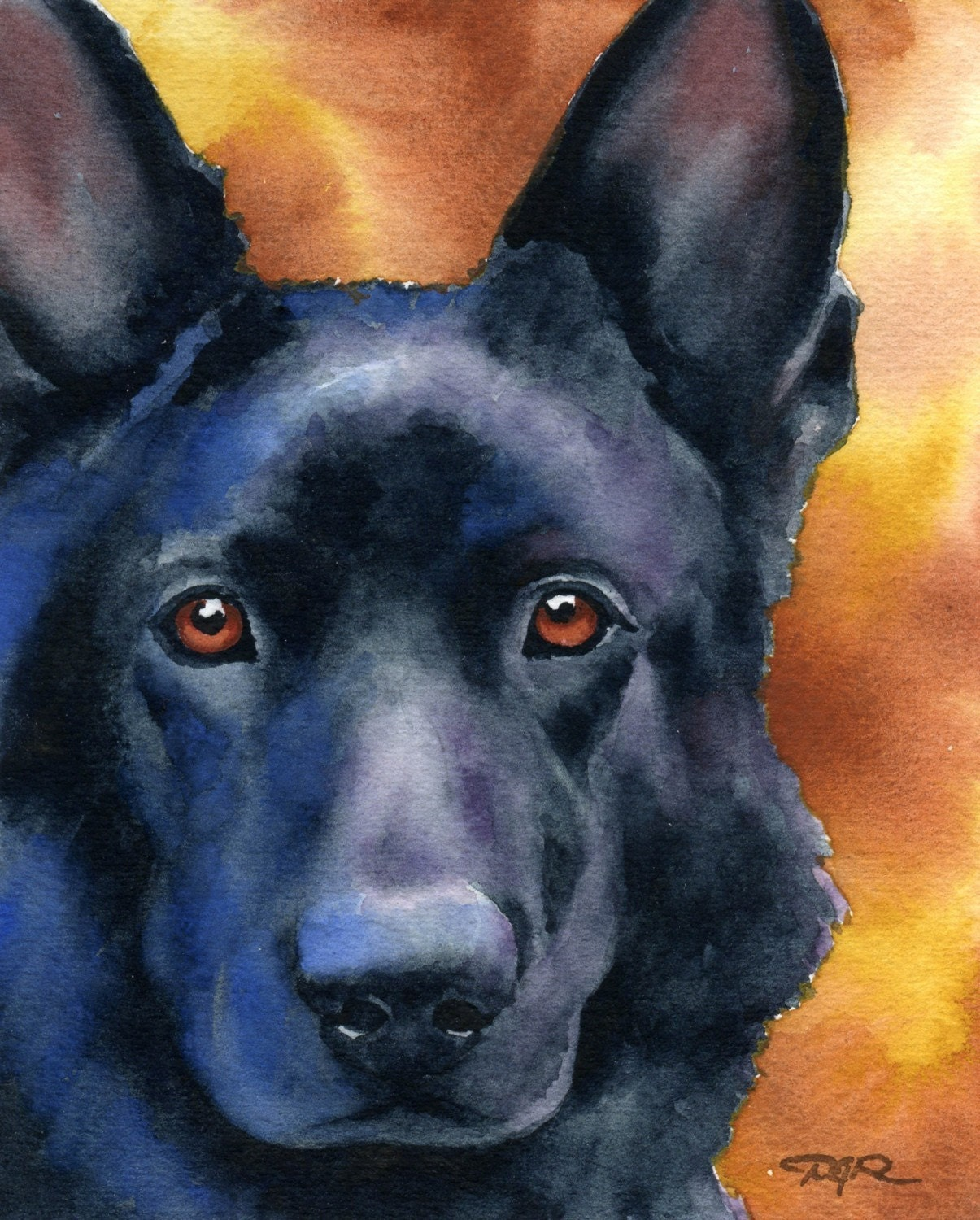 Black german shepherd art print signed by artist d by k9artgallery