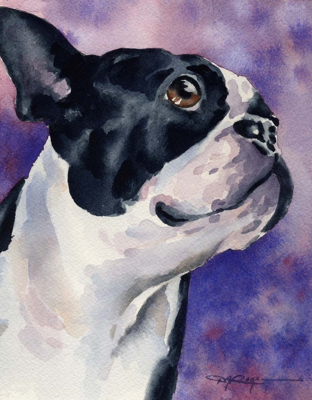 Boston terrier dog art print signed by artist dj by for Dog painting artist