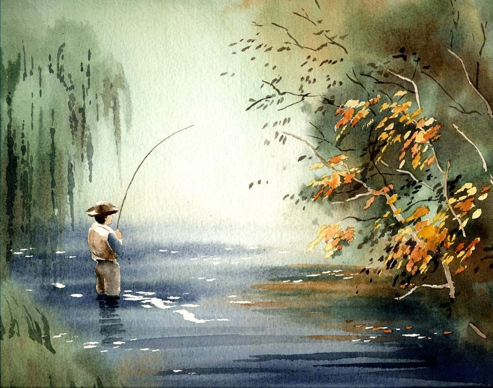 Fly fishing paintings the image kid has it for Fly fishing art