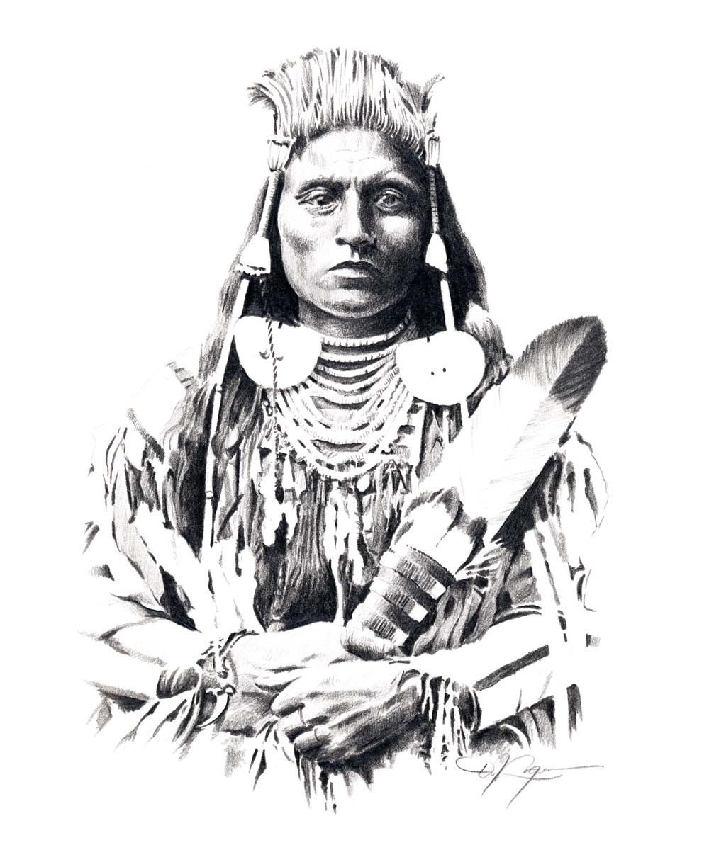 Uncategorized Indian Drawing chief medicine crow pencil drawing american indian art print