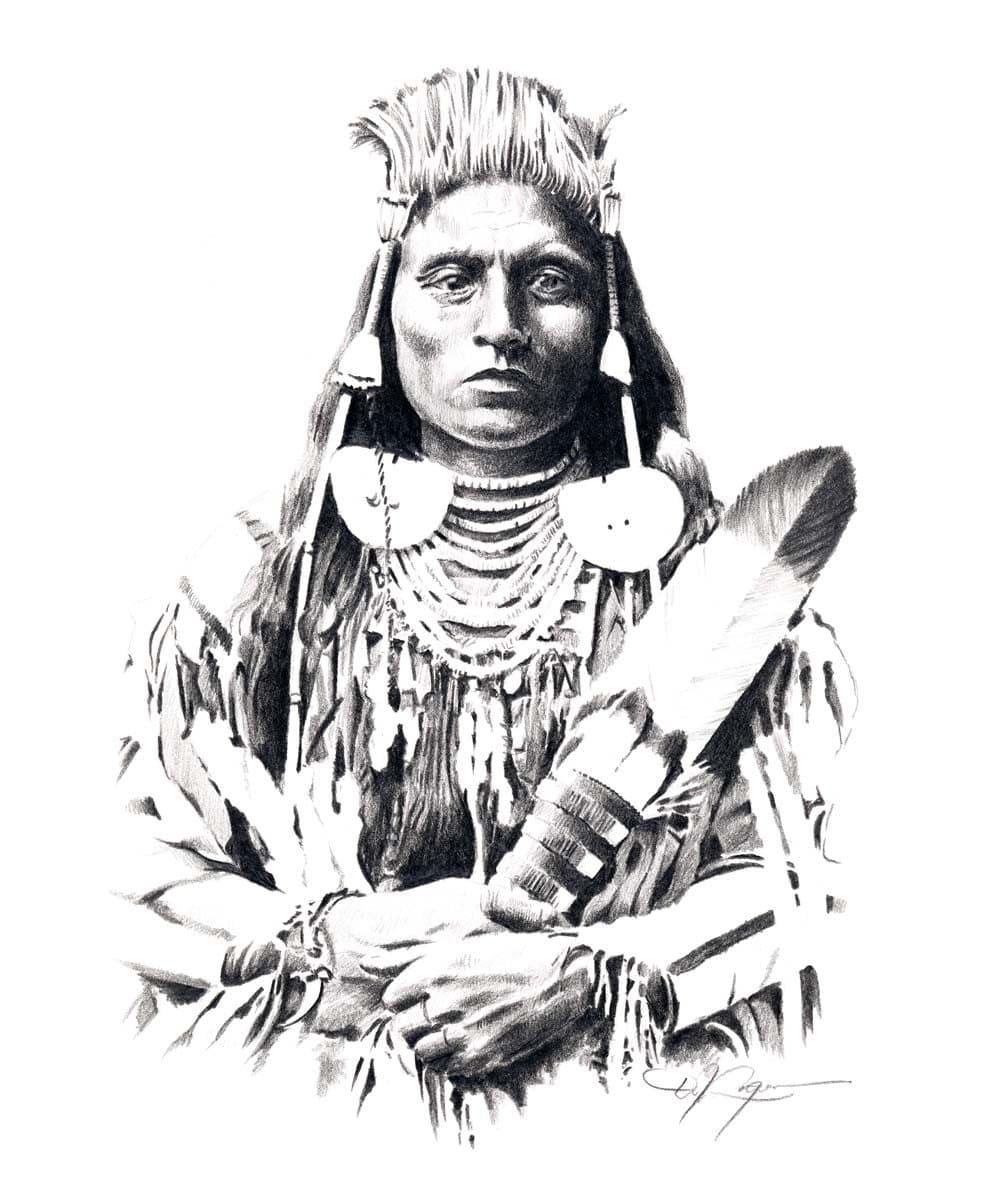 Native American Healing Herbs Plants: CHIEF MEDICINE CROW Pencil Drawing American Indian Art Print