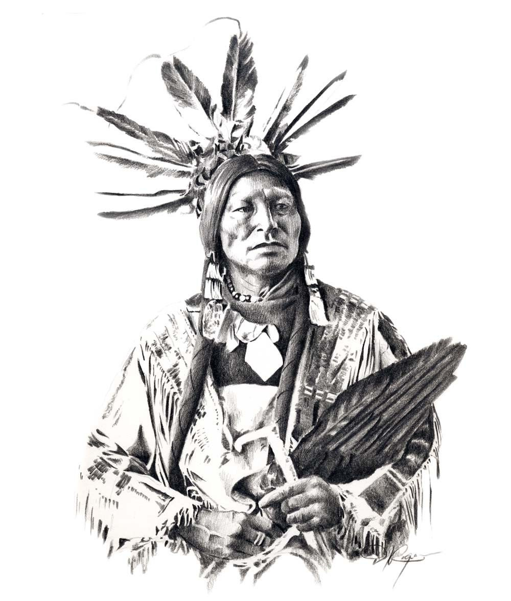 Uncategorized Indian Drawing chief many horns pencil drawing american indian art print