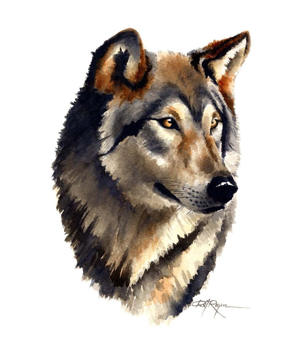 WOLF PORTRAIT Watercolor Painting Art Print Signed by ...