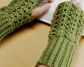 crochet fingerless glove wrist warmer gauntlet sage green wristlets