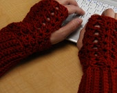 crochet fingerless glove wrist warmer gauntlet rust terra cotta wristlets