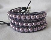Brilliant Lavender Pearl Three Wrap Bracelet - C