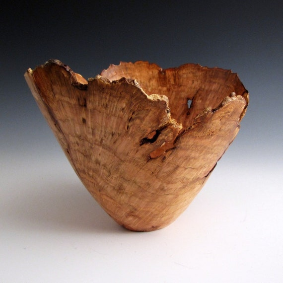 Artistic Rustic Cherry Burl Wood Turned Bowl