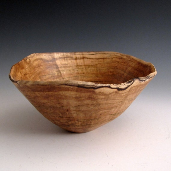 Natural Edge Maple Burl Hand Turned Wood Bowl