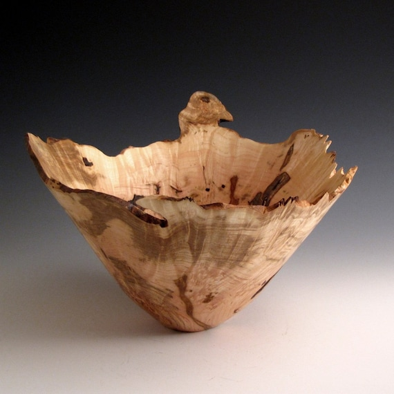 Mother's Day Gift - Natural Edge Ambrosia Maple Burl Wood Turned Bowl