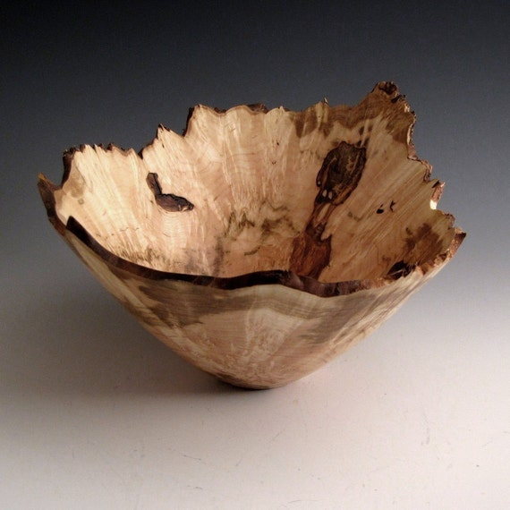 Ambrosia Maple Burl Wood Turned Bowl With A Natural Edge