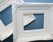 CLEARANCE Pair of Upcycled Vintage Chucnky Frames Cream Chalk Paint