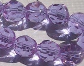 10mm Lt. Plum Glass Faceted Bead String approx. 33 beads