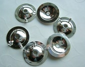 12 Pieces of Lead Safe Silver Plated Button Bezels (Converter) -- 20 mm
