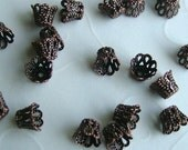 24 pieces of Antique Copper OR Antique Bronze Filigree Cone Bead Caps (you pick the color) - 6x5 mm