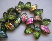 25 pieces of Czech Glass Leaf Beads in Olive Vitrail Color - 12x6mm