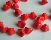20 pieces of Opaque Red Czech Glass Trumpet Flowers Beads - 8 x 6 mm