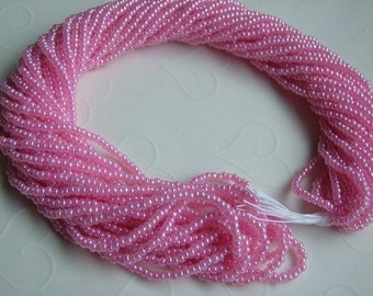 One hank of Czech Pearl Dark Pink seed beads - 1305 size 11