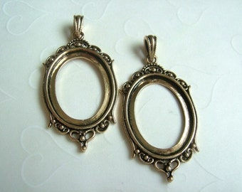 Special Order -- 4 pieces of Classic Antique Antique Gold Plated Cabochon Pendant Settings, fit 30x22 mm oval