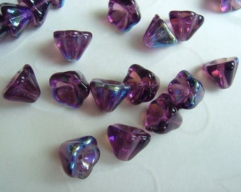 20 pieces of  Amethyst AB Czech Glass Trumpet Flowers Beads - 8 x 6 mm