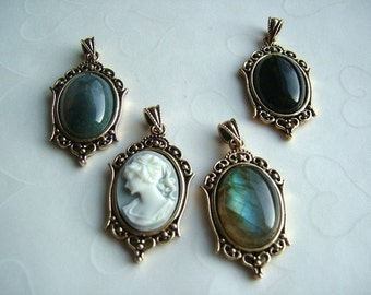 3 pieces of Classic Antique GOLD Plated Cabochon Pendant Settings, fits 18x13mm oval