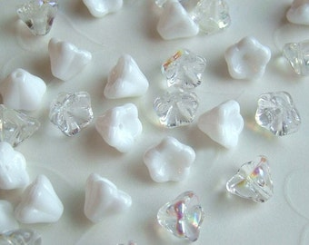 24 pieces of  Czech Glass Trumpet Flowers Beads  in Mixed Opaque White and Crystal AB  Colors - 8 x 6 mm