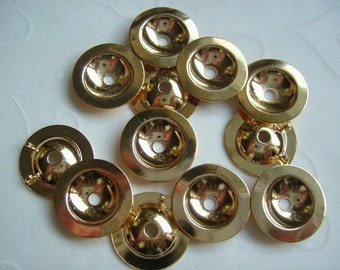 12 Pieces of Lead Safe Gold Plated Button Bezels (Converter) -- 15 mm
