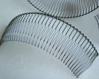 4 pieces of Antique Silver Tone 36 teeth Hair Comb - 118x35 mm