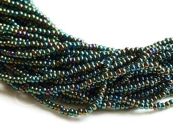 One hank of Czech Green Iris Seed Beads - 0422 size 11