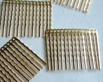 12 pieces of  Gold Plated 14 Holes Hair Comb - 44 x 36 mm