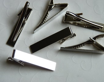 6 Pieces of Nickel Plated Tie Clips -- 42x8 mm