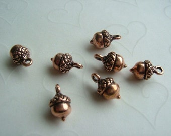 Fall Selected -- 8 pieces of Acorn Charms in Antique Copper Color  -- 14x7mm