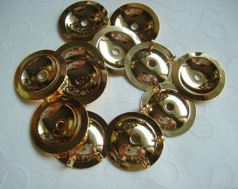 12 Pieces of Lead Safe Gold Plated Button Bezels (Converter) -- 25 mm