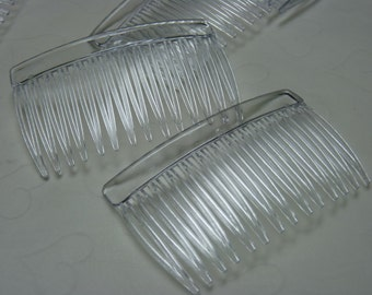 6 pieces of Clear Plastic Hair Combs - 69 x 42 mm