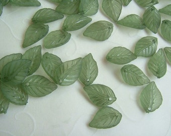40 pieces of Lucite Matte Olive Cherry Leaves Beads - 14 x 10 mm