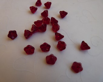 20 pieces of Transparent Ruby Czech Glass Trumpet Flowers Beads - 8 x 6 mm