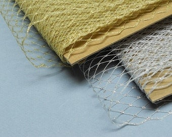 Weekly Promos -- 2 Yards 9 inches wide Birdcage Russian/French Veiling -- Metallic Gold OR Metallic Silver