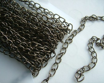 16.4 ft (5 Meters/per pack) Steel Base Antique Brass Color 5x3mm Twisted Cable Unsoldered Links Chain